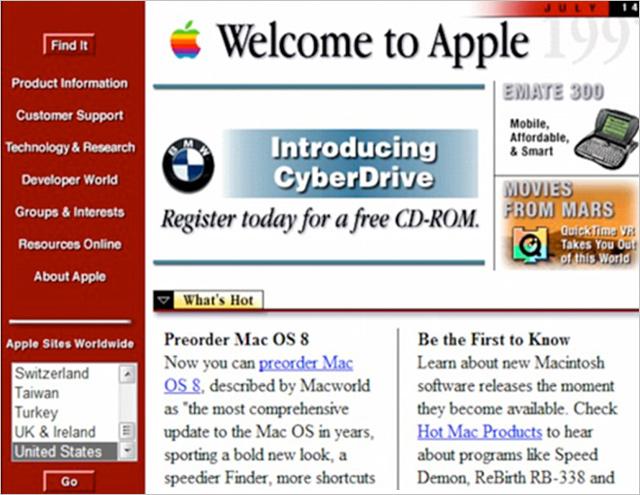Webové stránky Applu před více jak 20ti lety
