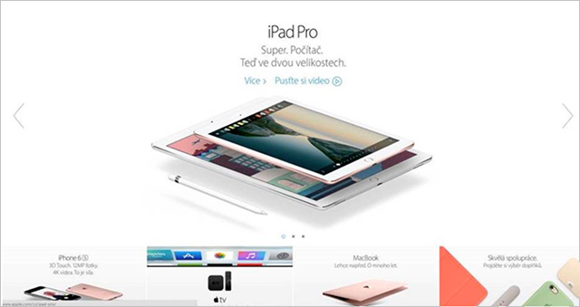 Webové stránky Applu dnes