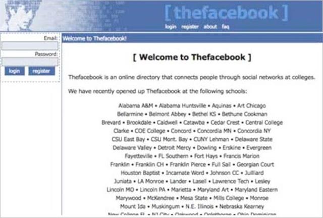 První webové stránky Facebooku