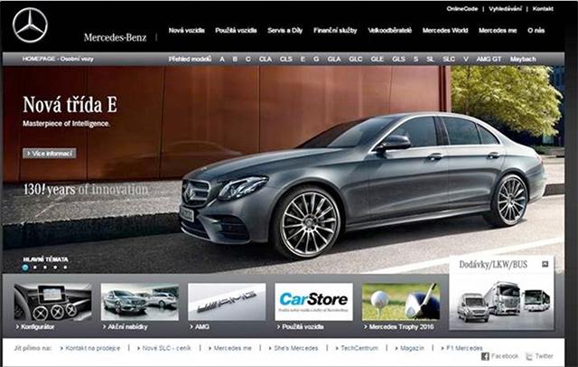 Webové stránky Mercedes-Benz dnes