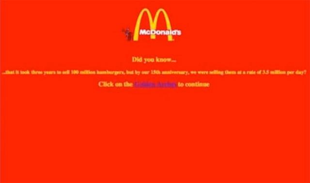 První webové stránky firmy McDonald