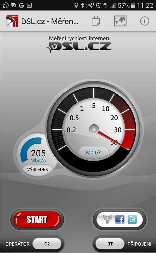 O2 změřilo rychlost LTE-A přes aplikaci DSL.cz