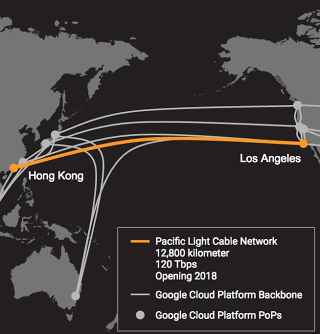 Propojení Los Angeles a Hongkong internetovým kabelem