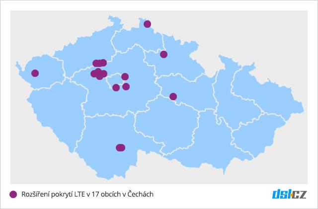 Pokrytí LTE T-Mobilem v říjnu 2016 v Čechách