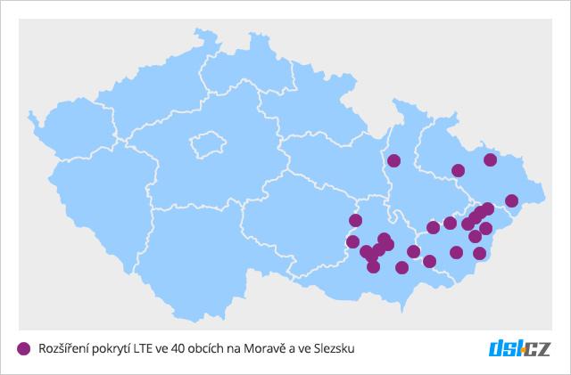 Pokrytí LTE T-Mobilem v říjnu 2016 na Moravě a ve Slezsku