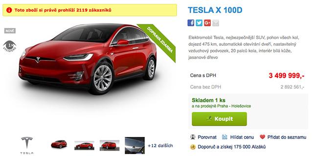 Elektromobil Tesla na Alza.cz