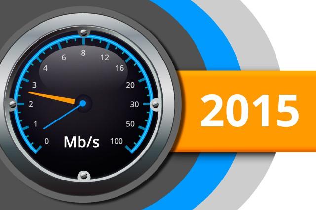 Naměřené rychlosti internetu na DSL.cz v roce 2015