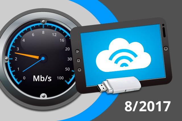 Rychlosti mobilního internetu na DSL.cz v srpnu 2017