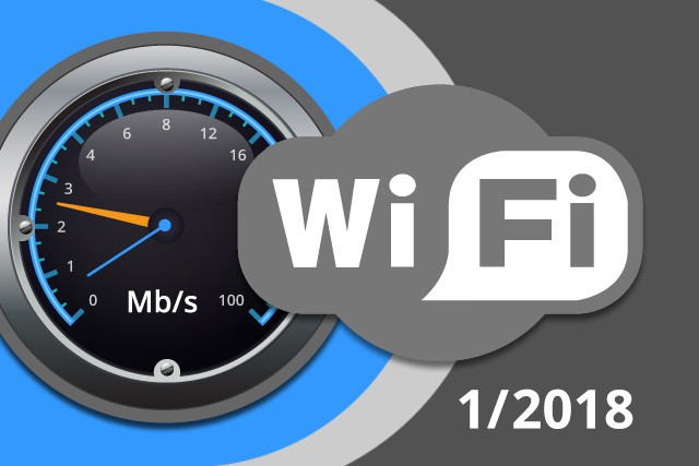 Rychlosti Wi-Fi internetu na DSL.cz v lednu 2018