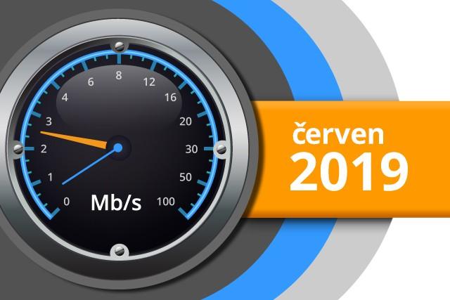Naměřené rychlosti internetu na DSL.cz v červnu 2019