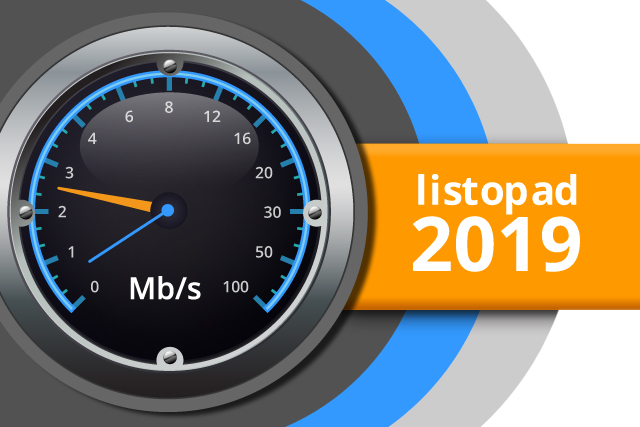 Naměřené rychlosti internetu na DSL.cz v listopadu 2019