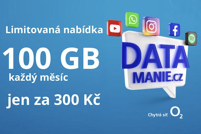 O2 začalo nabízet 100 GB dat za 300 Kč
