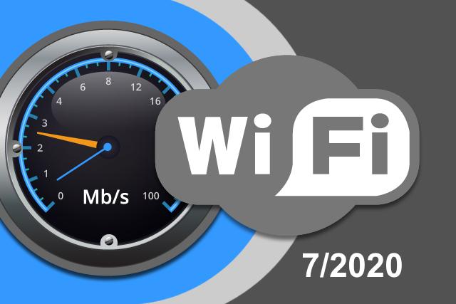 Rychlosti Wi-Fi internetu na DSL.cz v červenci 2020
