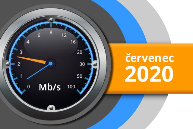 Naměřené rychlosti internetu na DSL.cz v červenci 2020