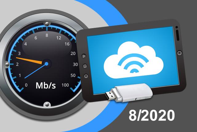 Rychlosti mobilního internetu na DSL.cz v srpnu 2020