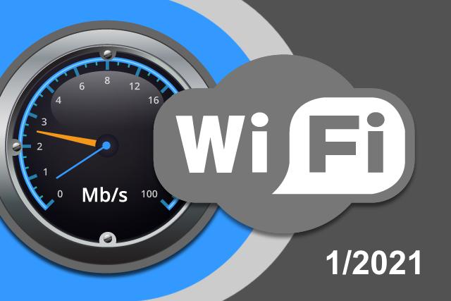 Rychlosti Wi-Fi internetu na DSL.cz v lednu 2021