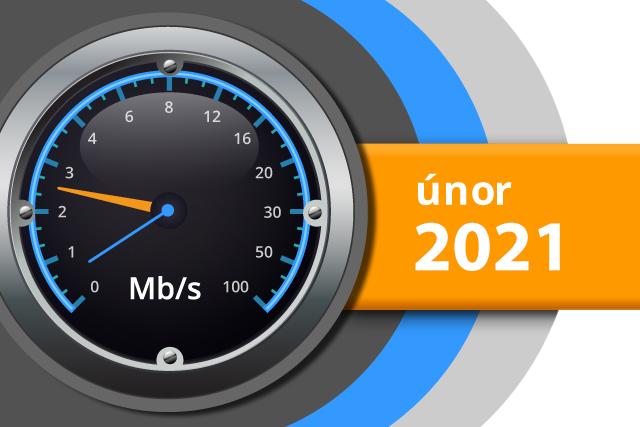 Naměřené rychlosti internetu na DSL.cz v únoru 2021