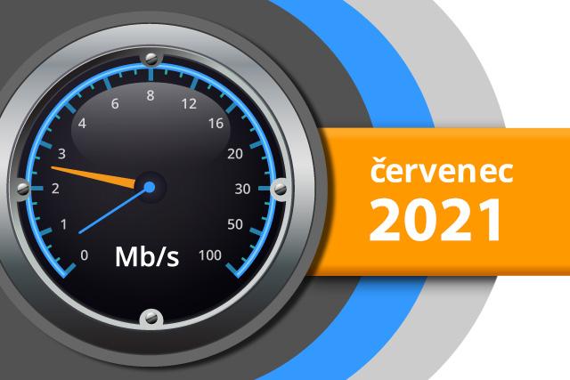 Naměřené rychlosti internetu na DSL.cz v červenci 2021