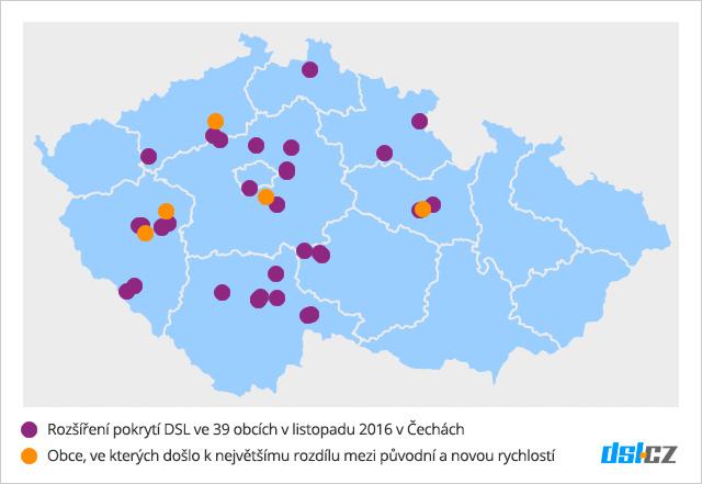 Zrychlování DSL v listopadu v Čechách