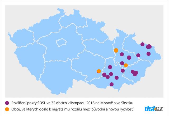 Zrychlování DSL v listopadu na Moravě a ve Slezsku