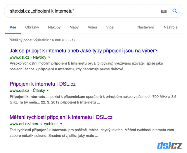 Vyhledat na webu DSL.cz Připojení k intenetu