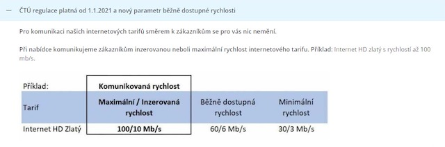 Informace o nových parametrech na stránkách O2