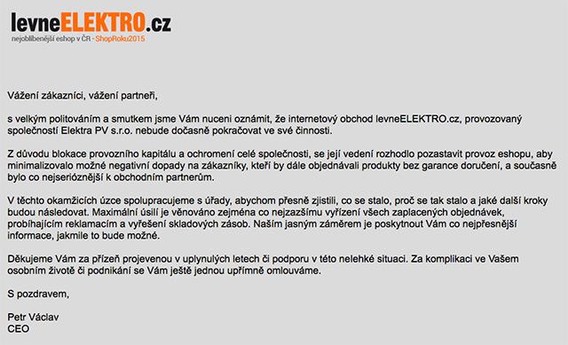 levneELEKTRO.cz prohlášení o pozastavení činnosti