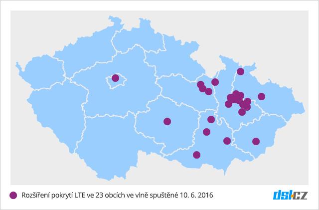 Druhá vlna pokrytí O2 LTE v červnu 2016