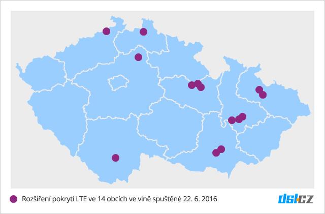 Pátá vlna pokrytí O2 LTE v červnu 2016