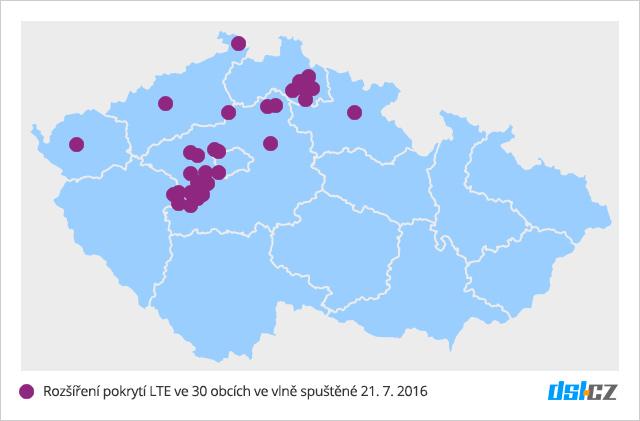 Druhá vlna pokrytí O2 LTE v červenci 2016