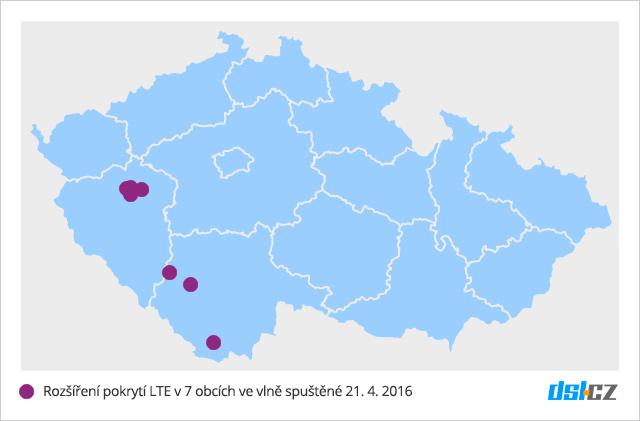 Třetí vlna pokrytí O2 LTE v dubnu 2016