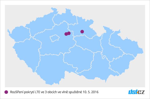 Třetí vlna pokrytí O2 LTE v květnu 2016