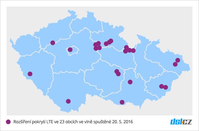 Pátá vlna prokrytí LTE od O2 v květnu 2016