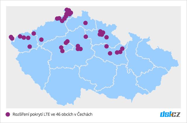 Pokrytí LTE T-Mobilem v září 2016 v Čechách