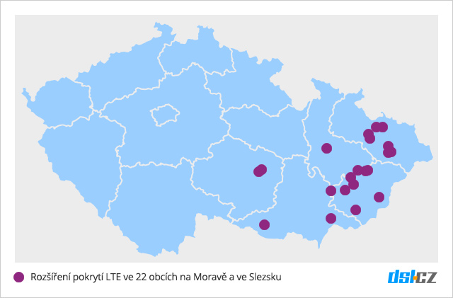 Pokrytí LTE T-Mobilem v září 2016 na Moravě a ve Slezsku