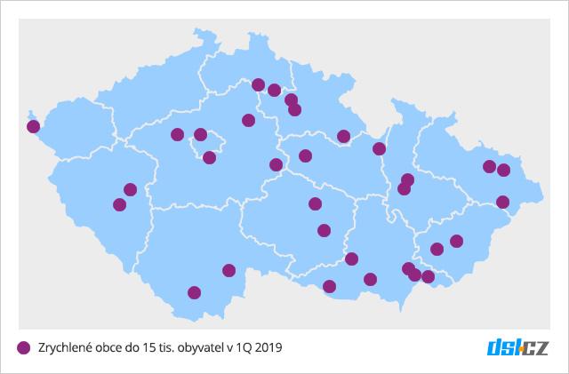 Mapa pokrytí zrychlených obcí do 15 tis obyvatel za 1Q 2019