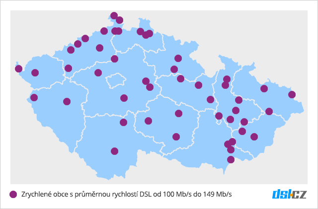 Mapa pokrytí DSL do 149 Mb/s