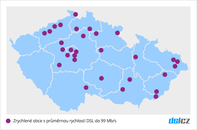 Mapa pokrytí DSL do 99 Mb/s