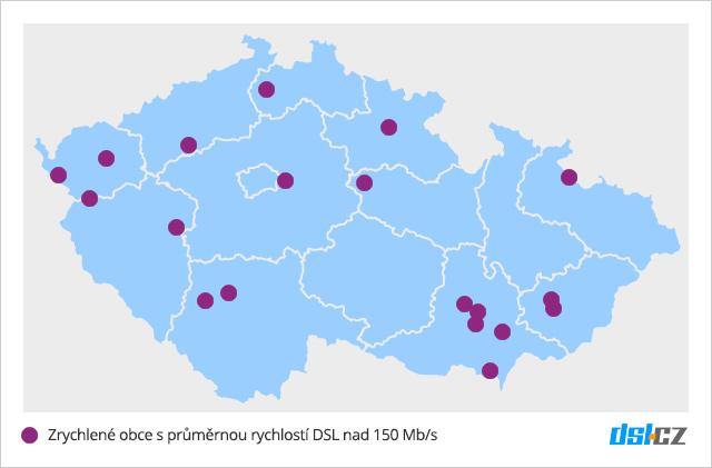Mapa pokrytí DSL nad 150 Mb/s