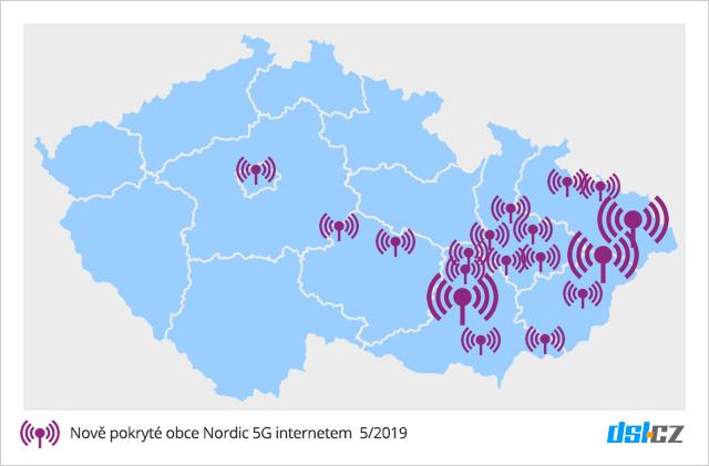 Mapa pokrytí internetu Nordic 5G 5/2019
