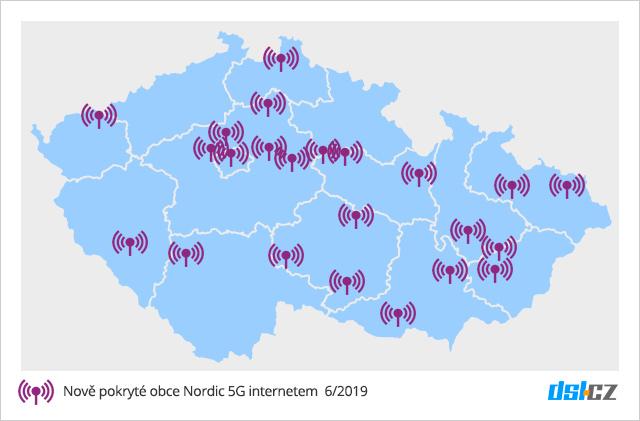 Mapa pokrytí nově spuštěných vysílačů Nordic 5G v červnu 2019