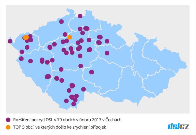 Zrychlování DSL v únoru v Čechách