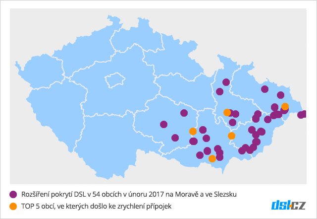 Zrychlování DSL v únoru na Moravě a ve Slezsku