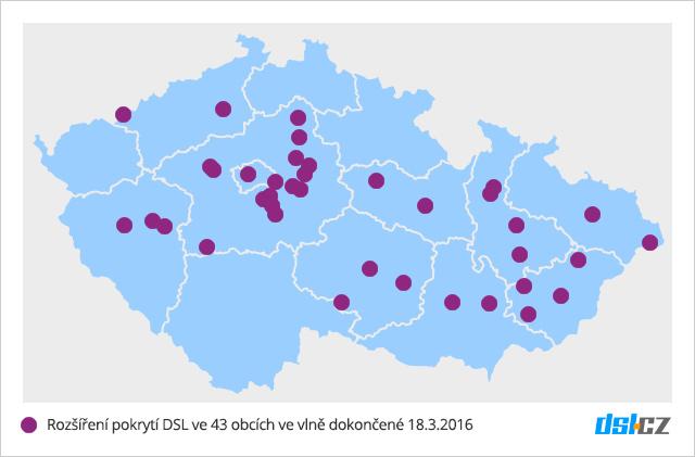 Mapa rozšíření pokrytí DSL v březnu 2016 pro 43 obcí