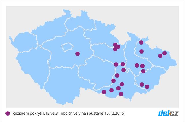 Mapa nového pokrytí LTE v síti O2 - 16. prosinec 2015 - 31 obcí
