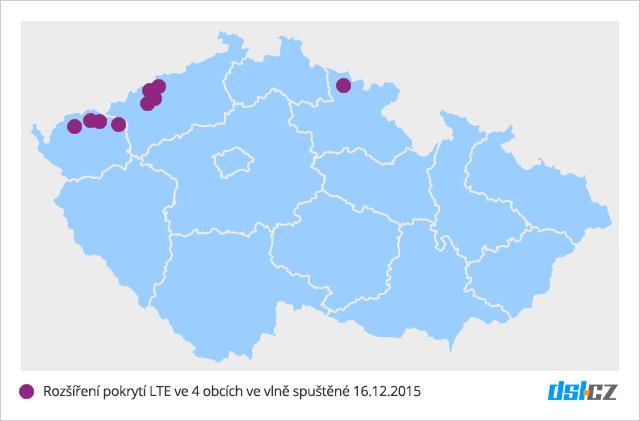 Mapa nového pokrytí LTE v síti O2 - 16. prosinec 2015 - 4 obce