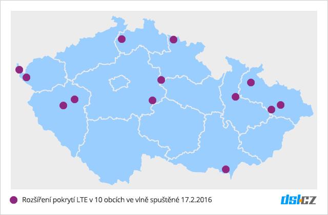První vlna pokrytí O2 LTE v únoru 2016