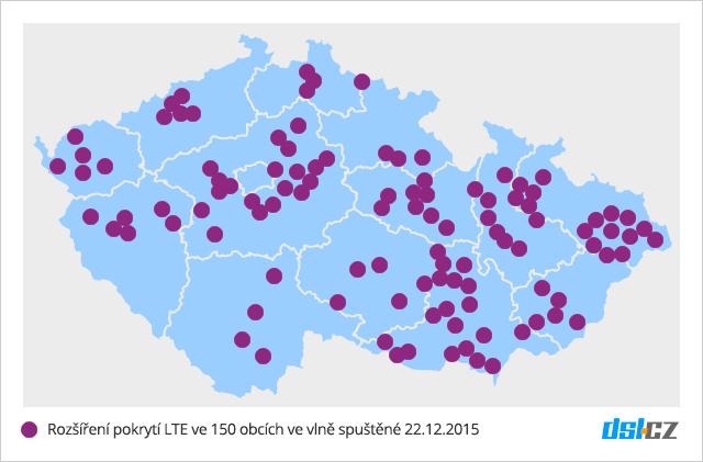 Mapa nového pokrytí LTE v síti O2 - 22. prosinec 2015 - 150 obcí