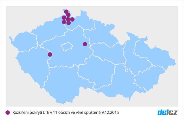 Mapa nového pokrytí LTE v síti O2 - 9. prosinec 2015 - 11 obcí