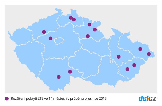 Mapa pokrytí nových měst T-Mobile sítí LTE v prosinci 2015